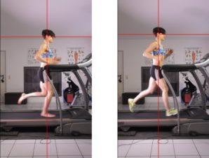 links: Mittelfußlauf, rechts: Fersenlauf Bilder aus meiner Laufstilanalyse bei SCHORK Sports
